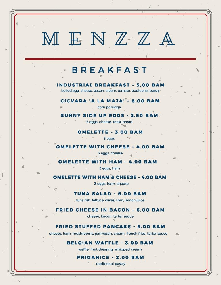 karta doručka engleski - konačni